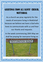 Praying for people on Occupation Road, Mattishall